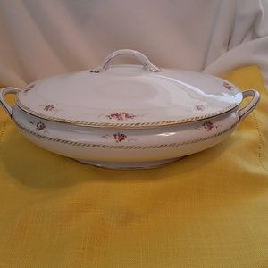 Antique Oval Covered Vegetable Dish w/matching lid